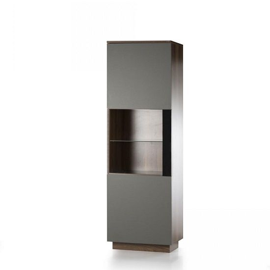 Michigan Wooden Display Cabinet In Walnut And Grey With Glass Inserts And LED Lighting, will add an elegance and luxury to any modern home decor. It is crafted from quality wood finished in Walnut ...