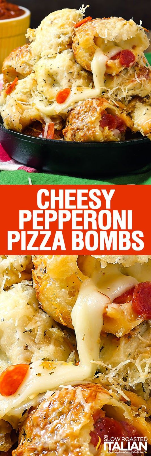 Glorious Cheesy Pepperoni Pizza Bombs are perfectly seasoned bread bites loaded with pepperoni and tons of ooey gooey cheese, baked to perfection.  That makes this easy recipe a game day winner!