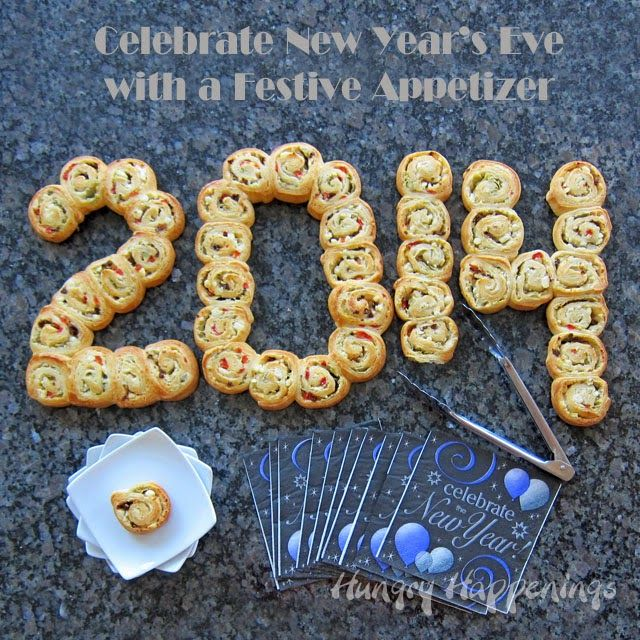 "Celebrate New Year's Eve with a festive appetizers these ""2014"" Mediterranean Pinwheels can easily be changed for ""2015"" 