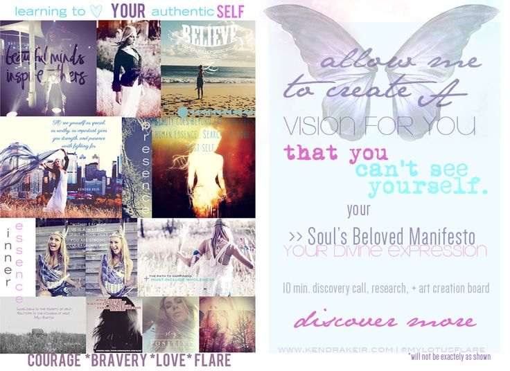 Soul Manifesto Vision Board. Your Soul's Essence and Heart's Desires - to inspire you and help with your creative expression of who you are. Have your own Soul's Beloved Personal Manifesto created for you. This is an INTRODUCTORY offer includes a 10 min. skype call for locals in Calgary, includes research and a custom Soul Manifesto Digital Vision Board. www.kendrakeir.com