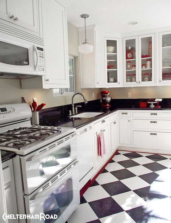 This is closest to what I want to achieve: mostly black and white, splashes of red. B&W checkered tile a must.