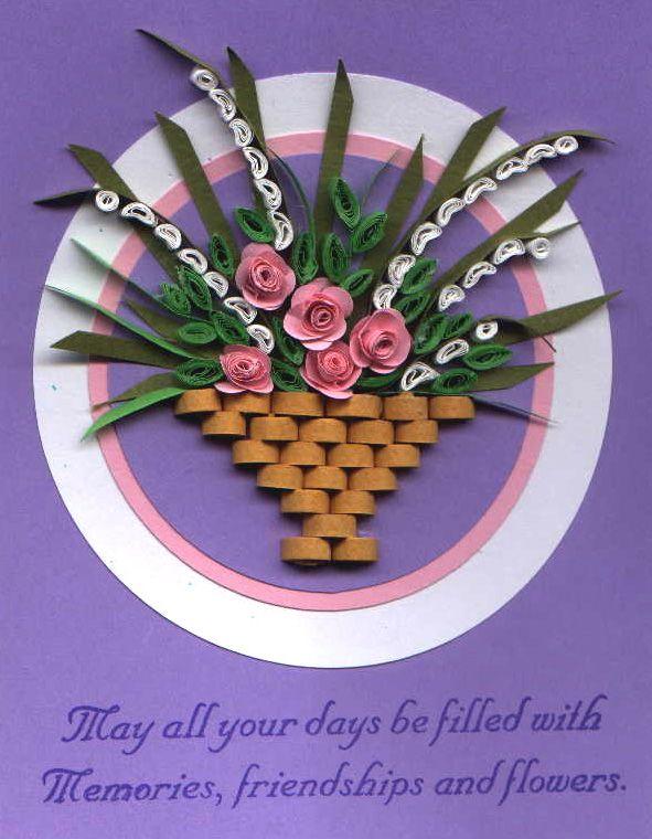 Цветы в корзине своими руками открытка