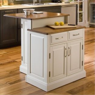 Home Styles - Home Styles Woodbridge Two Tier Kitchen Island in White and Oak - Home Styles - Kitchen Carts - 501094 - The Woodbridge Kitche...