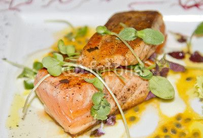 Cooked swordfish with salad