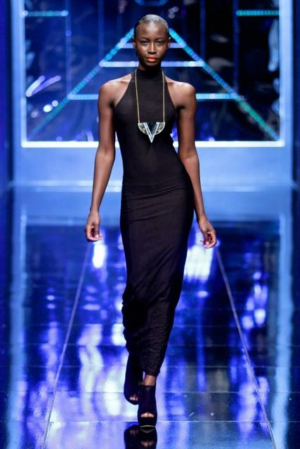 large geometric triangle statement pendant for Craig Port @ Mercedes Benz fashion week 2013