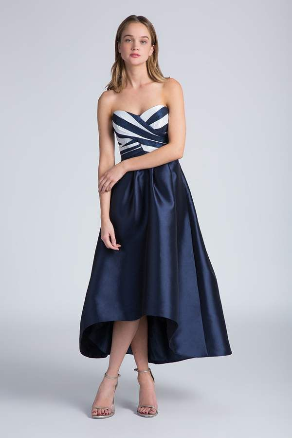 strapless bridesmaid dress in navy and white with striped bodice and high low hemline @myweddingdotcom