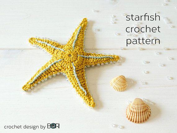 starfish crochet pattern, DIY, sea star, pdf, download, easy, colorful, unique design, handmade gift