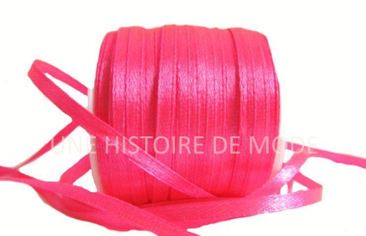3 mètres - ruban satin rose (fluo) 3 mm de largeur : Rubans par une-histoire-de-mode