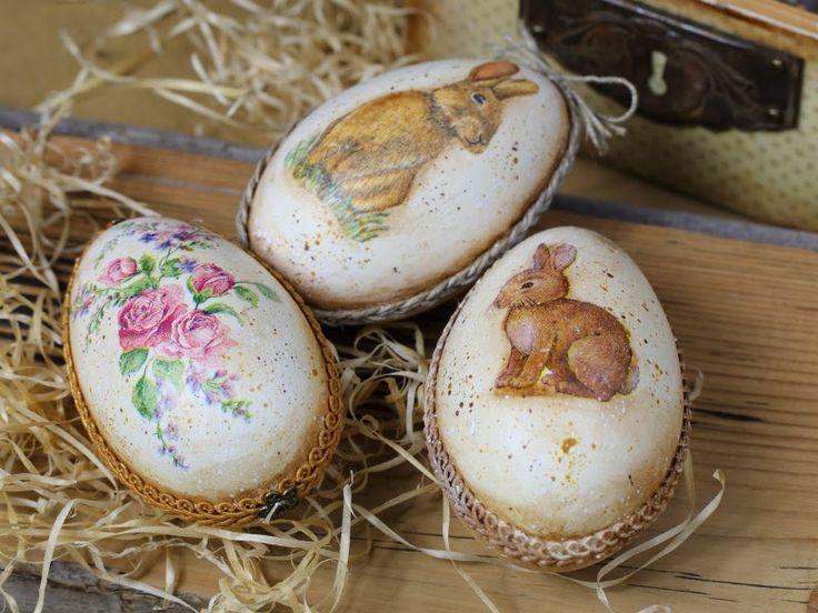 easter egg, bunny, decoupage, vintge
