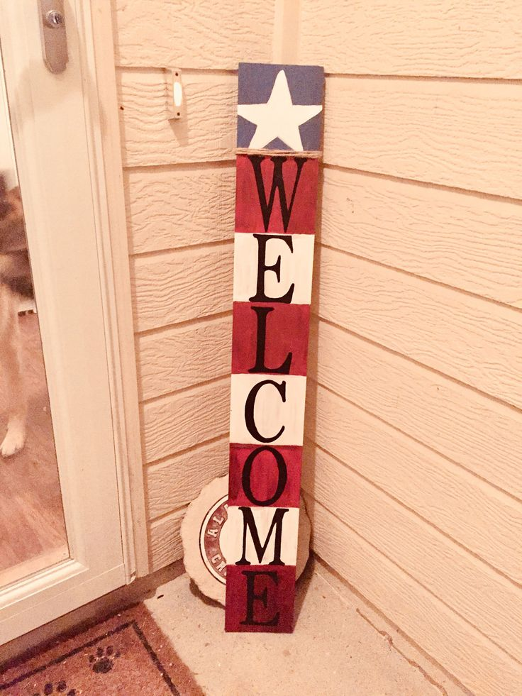 American Flag Front Porch Sign, Front Porch Sign, Front Porch Decor, Memorial Day Sign, American Flag Decor, Welcome Sign, Patriotic Decor