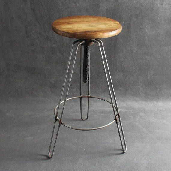 Industrial Hairpin Swivel Bar Stools Vintage Retro Factory Con