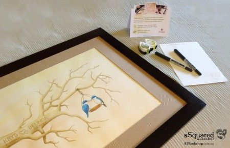 Krys and Belinda's #fingerprinttree framed and ready to be put on display at their ceremony, along with inks, pens, instructions and a handy testing page.