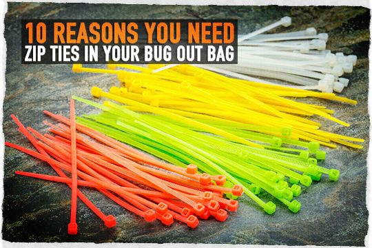 Preppers Do you Have These in Your Bug out Bag: Zip Tie Survival Uses Often times called cables ties, zip ties come in various colors and sizes but keep in mind the colored ones weaken faster when exposed to sunlight. Black appears to hold up the best, but you might want a variety of colors … Continue reading »
