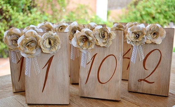 Great Gatsby Wedding Table Numbers Vintage Book Paper Flowers Lace. Wood Numbers Table. Art Deco  wedding centerpieces, 1920s, Wedding sign
