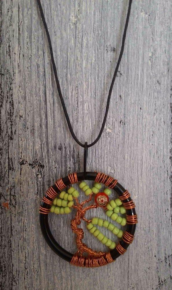 TREE OF LIFE - Collana colore VERDE lavorazione artigianale - ciondolo cm 4