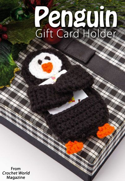 Penguin Gift-Card Holder from the December 2014 issue of Crochet World Magazine. Order a digital copy here: http://www.anniescatalog.com/detail.html?code=AM01221