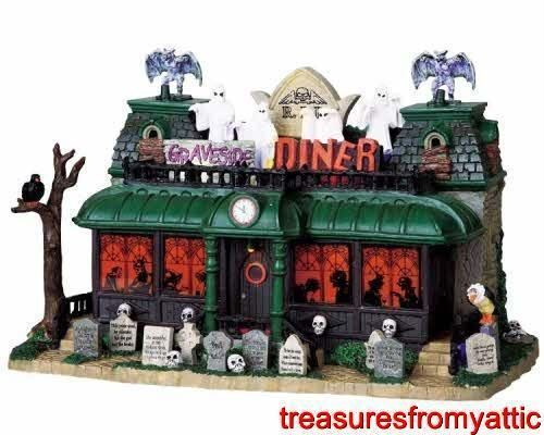 lemax spooky town graveside diner 95805 nrfb halloween lighted w sound