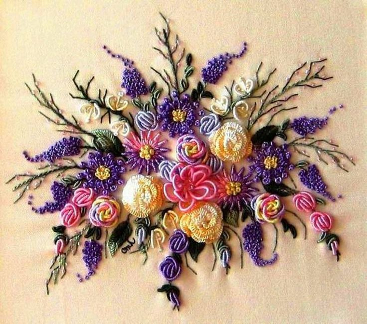 "This is ""Lilac Time"" by Brazilian embroidery designer Evelyn Bailey. It was embroidered by Christine Hause. Divine.   Image courtesy of http://www.christinehause.com/Class%20Samples%20L%20.htm"