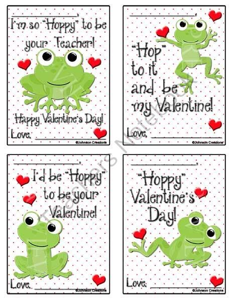 Frog Valentines from Johnson Creations on TeachersNotebook.com -  (2 pages)  - Even if you don't have a FROG themed classroom, these Valentines would be super cute to give to your students!