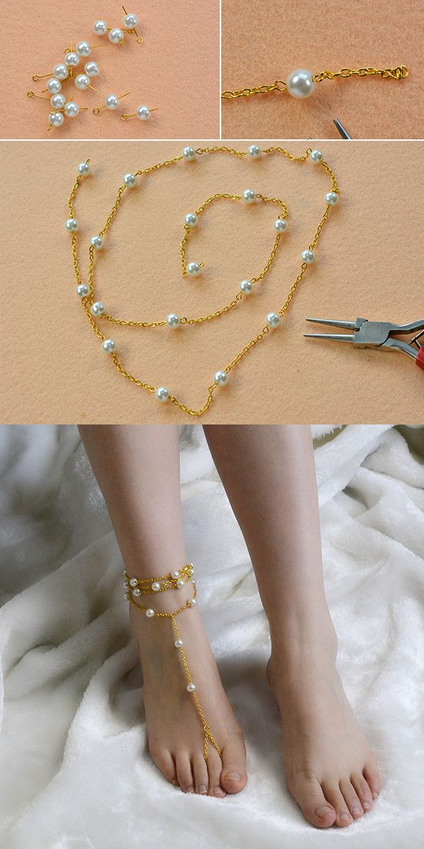 Pearl and chain anklet, like it? LC.Pandahall.com will publish the tutorial soon.            #pandahall
