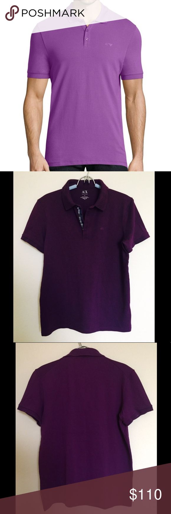 NWOT Armani Exchange purple pique polo top Classic and versatile pique polo top from Armani Exchange. Excellent condition, no stains or tears. Beautiful purple color and super soft material. Classy navy lines contrasting with purple color. A X embroidered on the chest and tag on the side. It's Medium and slim fit, so if you're S-M, it will fit just right and slim fitted for regular Medium. Feel free to ask any questions if you have. Thank you🙏 Armani Exchange Shirts Polos