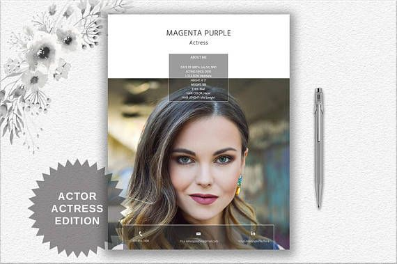 Actress  Actor Resume Template With Photo  Creative