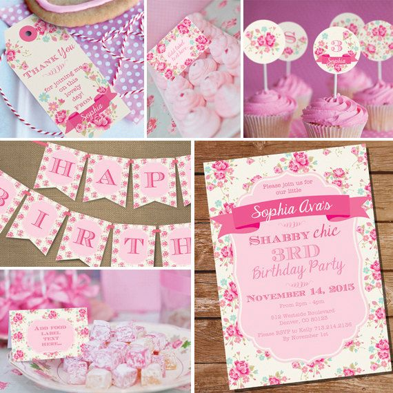 Shabby Chic Floral Birthday Party Printable Set - Shabby Chic Floral Printables - Instant Download and Edit File at home with Adobe Reader