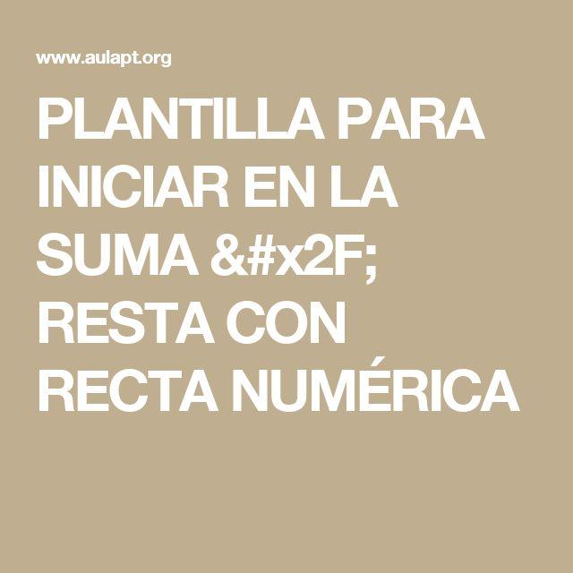 PLANTILLA PARA INICIAR EN LA SUMA / RESTA CON RECTA NUMÉRICA