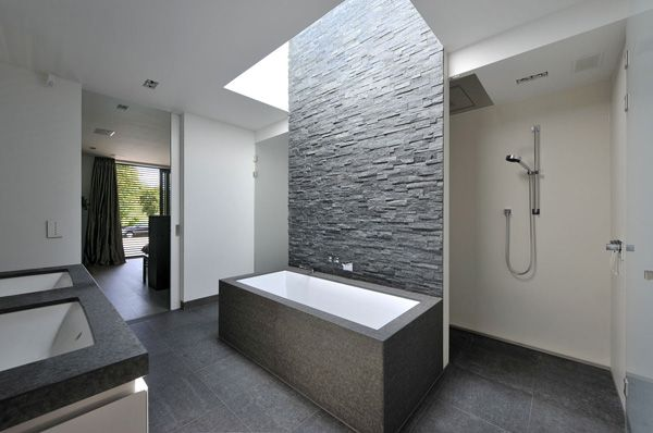 Textured wall,clean lines grey & white