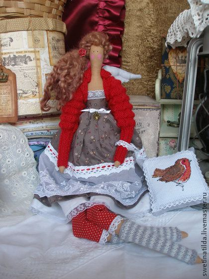 Доминик - ярко-красный,яркий,красный,тильда,саше,саше с вышивкой,кукла ручной работы