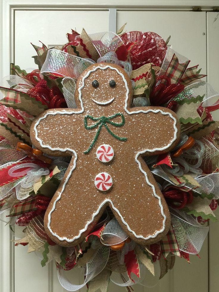 Gingerbread deco mesh wreath by Twentycoats Wreath Creations (2015)