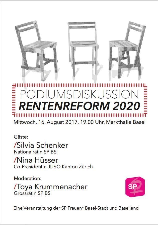Podiumsdiskussion Rentenreform 2020 #AV2020 Gäste sind SIlvia Schenker und Nina Hüsser Moderation: Toya Krummenacher Organisiert von uns, den SP Frauen* Basel- Stadt und SP Frauen* Baselland  #av2020 #abst17 #ahv