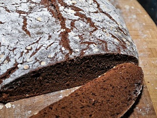 we have to try this no-knead rustic pumpernickel bread recipe - after having the pumpernickel bread with butter and coarse salt at The Abbey