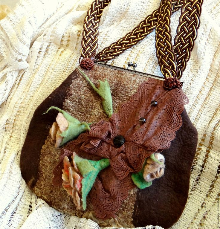 """Купить Валяная сумка """"Кофейное настроение"""" - #сумка #сумка валяная #валяная #коричневая #большая  #валяние #авторскаяработа"""
