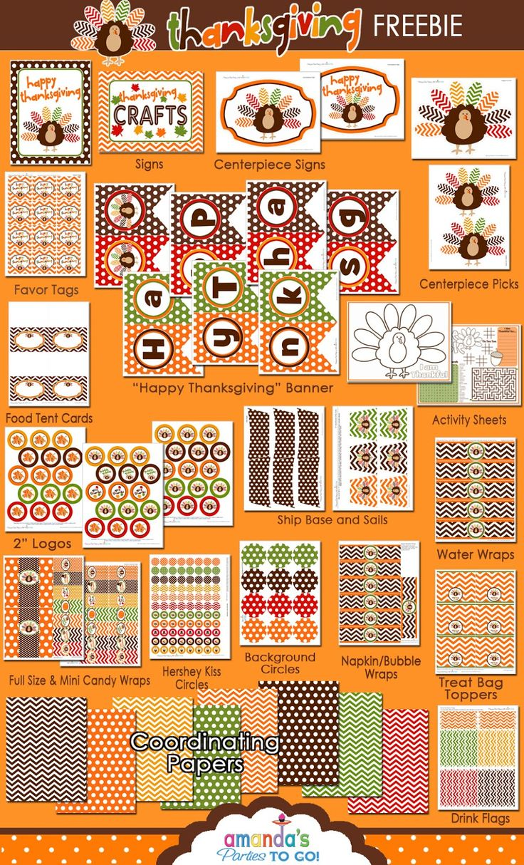 Free Thanksgiving Printables from Amanda's Parties TO GO:  Candy bar wrapppers, cupcake toppers, banners, wraps, activities... 42 pages!