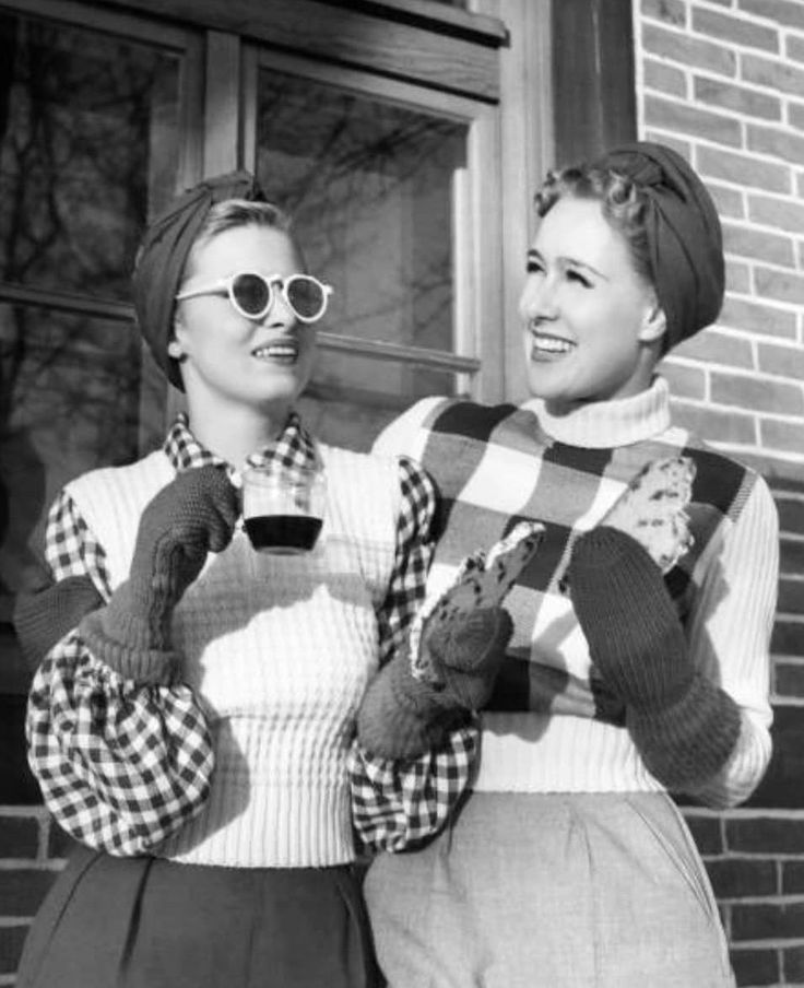 40s era winter sportswear wool sweater skirt pants trousers plaid gloves hat turban friends drinking coffee women WWII era vintage fashion style