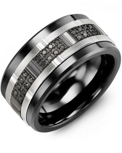 mens black diamond set high tech black ceramic wedding ring with 10kt white black - Black Wedding Rings For Men