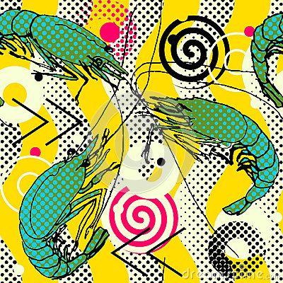 Shrimps. Seamless pattern background. Shrimps hand-drawn sketch geometric waves motif. Drawn illustration, sketch, doodle