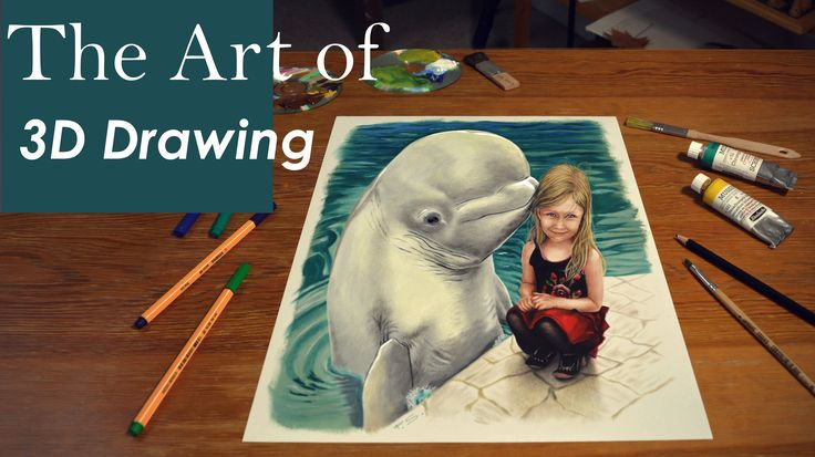 3D Painting of a little girl with dolphin/Custom drawing