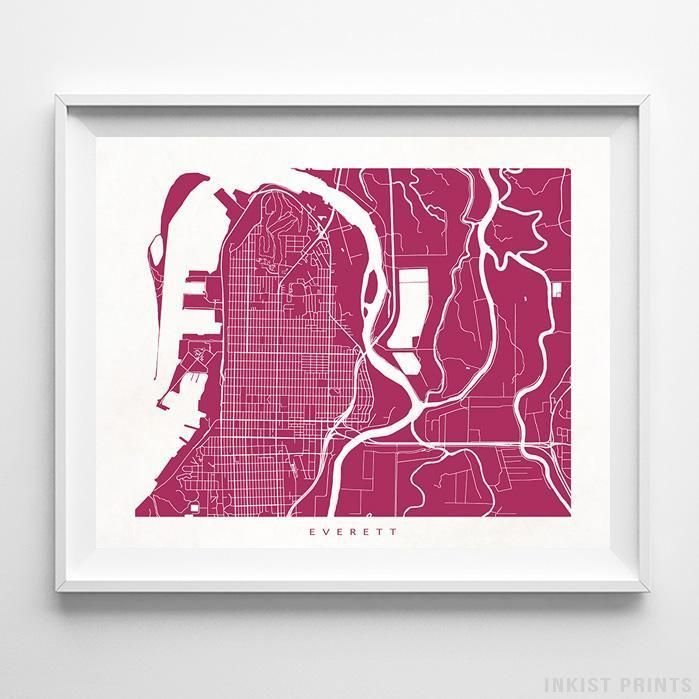 Everett Washington Street Map Wall Decor Poster. 70 Color Options. Prices from $9.95. Available at InkistPrints.com - #streetmap #map #homedecor #walldecor #Everett #Washington
