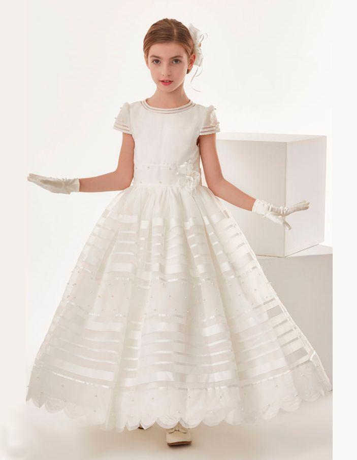 Nectarean Ivory Organza Ball Gown Cap Sleeve Bow(S) Floor-Length Communion Dresses