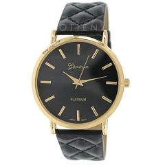 Zegarek czarny kobiecy pikowany