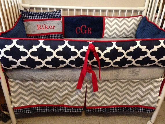 Navy, gray and red baby bedding