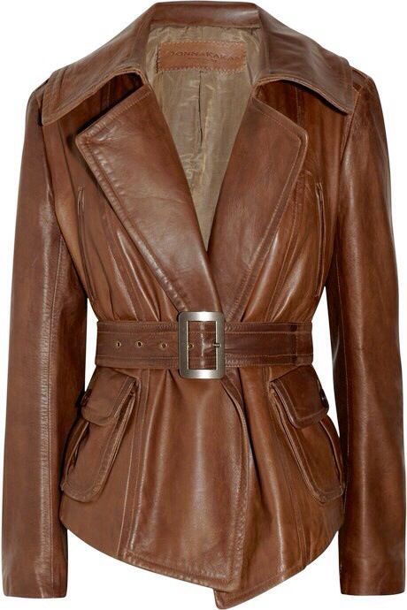 Donna Karan Belted Brown Leather Jacket. Gorgeous. Classic.
