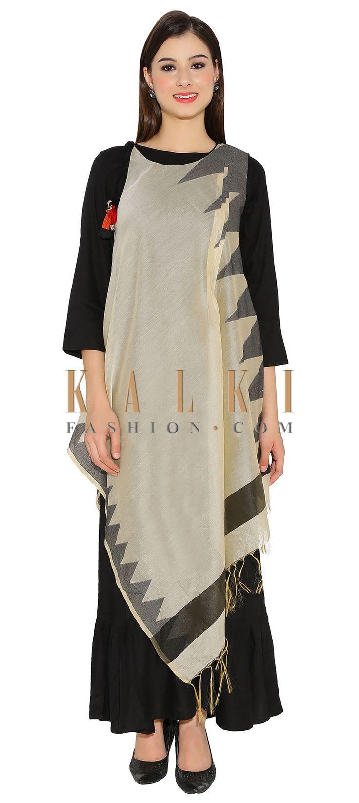 Black & Cream Cotton, Silk Kurti With Asymmetric Silhouette And Temple Motif Thread Tassels Bohemian Style Only On Kalki
