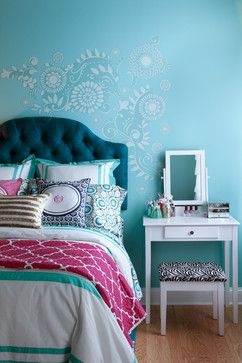 Love the stincling around the bed. very girly!!! Colorful Butterfly Girl's Room - eclectic - Kids - San Diego - Shelley Gardea