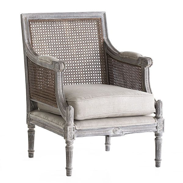 Wisteria - Furniture - Shop by Category - Chairs - Linen and Cane-Back Chair - $899.00
