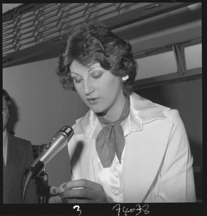 361635PD: Verleen Antunovich, Miss Western Australian Charity Queen, draws the Western Australian lottery, 16 September 1975 (Click to Start Zoom)