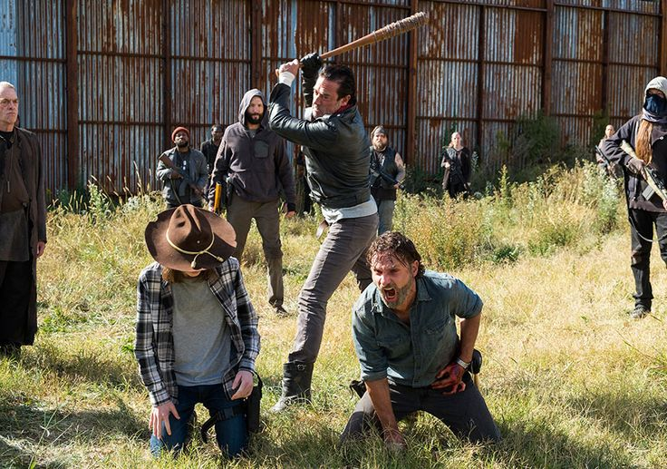 The Walking Dead Season 7 Episodic Photos - Carl Grimes (Chandler Riggs), Negan (Jeffrey Dean Morgan) and Rick Grimes (Andrew Lincoln) in Episode 16 Photo by Gene Page/AMC