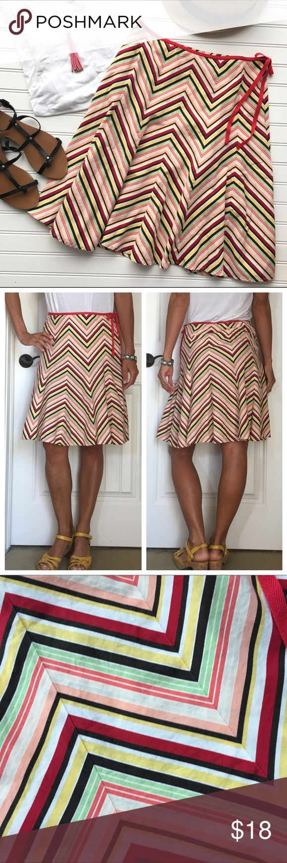 """.Ann Taylor LOFT Chevron Skirt .Ann Taylor LOFT Chevron Skirt   size 6; 100% cotton  A-line skirt in festive chevron pattern   fitted waistband with side zipper; twill trim that ties at side   darts along waist; flares out in flattering shape   looks great with a simple white tee & sandals! . EUC, no flaws . 14.5"""" waist 22"""" length   #shopsmall #anntaylor #chevron#loft #summerstyle #shopmystyle #summerfashion #forsale #shopmycloset #clothingforsale #thelookforless #shopwardrobewednesday Ann…"""